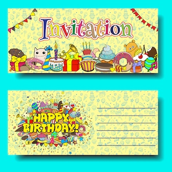 Greeting cards birthday party invitation with sweets doodles background.