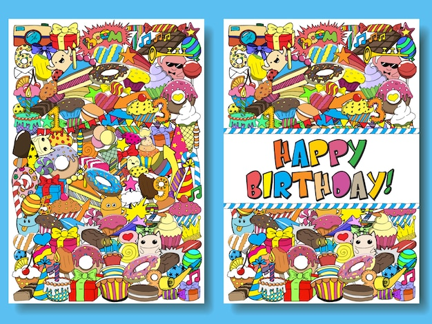 Greeting cards birthday party s with sweets doodles