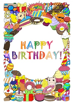 Greeting cards birthday party with sweets doodles background.