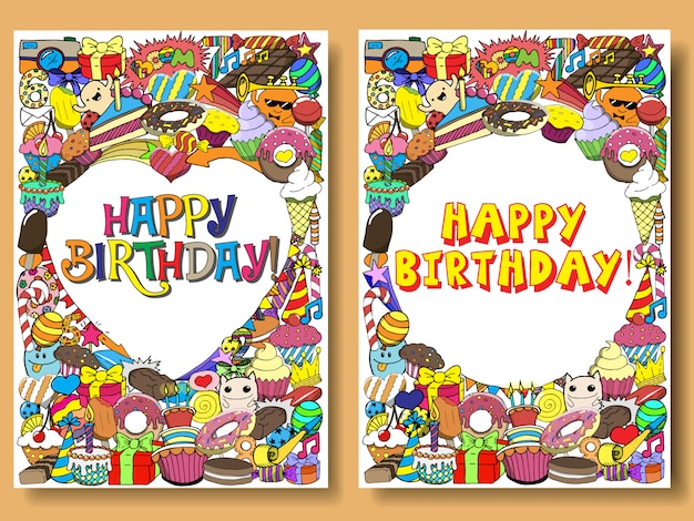 Greeting cards birthday party with sweets doodles background