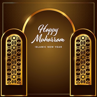 Greeting cards islamic new year pattern background wallpaper in gold color