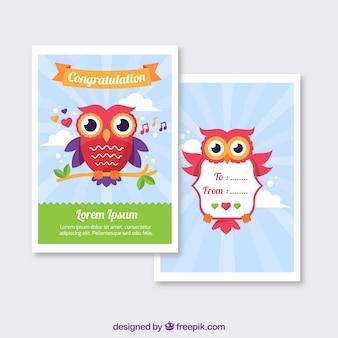 フクロウのグリーティングカード