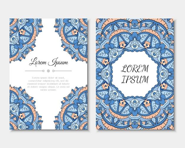 Поздравительные открытки с красочным узором мандалы.