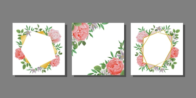꽃과 잎으로 구성된 인사말 카드