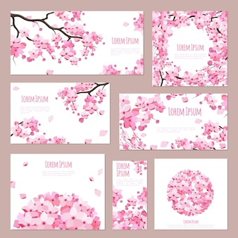 Greeting cards template with blossoming sakura flowers