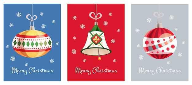 Greeting cards with a christmas toys