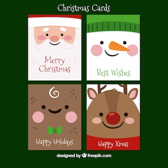Greeting cards with faces of typical christmas characters