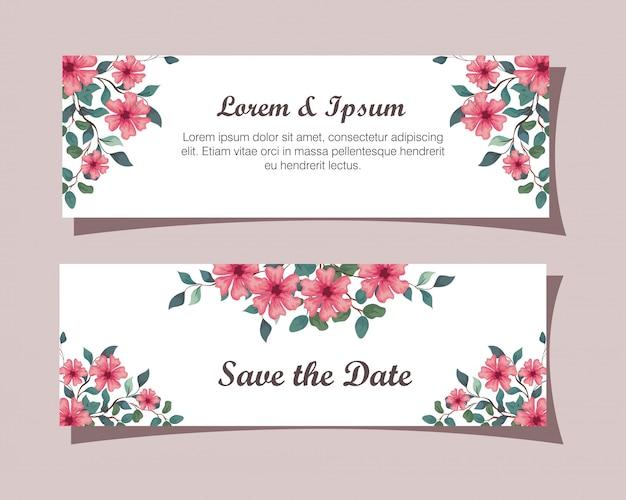 꽃 핑크 색상 인사말 카드, 꽃과 결혼식 초대장 지점과 나뭇잎 장식 일러스트 디자인으로 핑크 색상