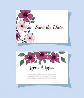 꽃 자주색과 분홍색으로 인사말 카드, 가지와 꽃과 함께 청첩장