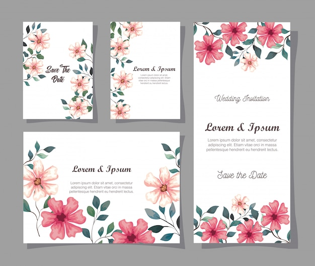 花のグリーティングカード、枝と葉の装飾イラストデザインと花の結婚式の招待状