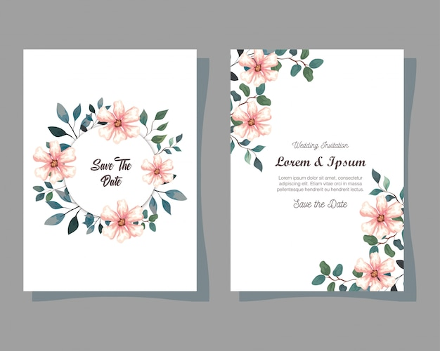 Greeting cards with flowers, wedding invitations with flowers with branches and leaves decoration illustration design