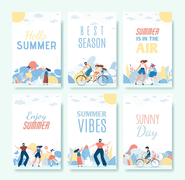 Greeting cartoon summer cards and vibes set