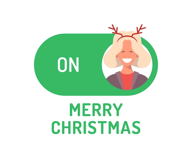 Greeting christmas card. creative merry christmas or new year concept mode switch toggle. slider button on xmas flat vector illustration with character person avatar on green button.