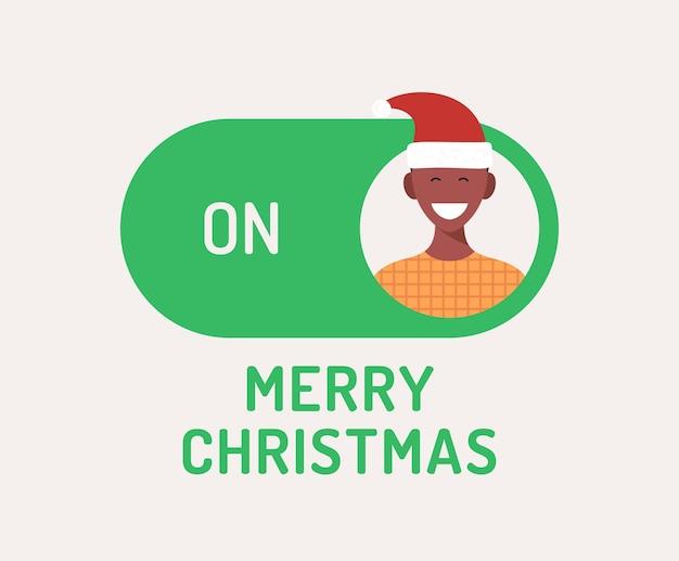 인사말 크리스마스 카드입니다. 크리에이 티브 메리 크리스마스 또는 새해 개념 모드 스위치 토글. 크리스마스에 슬라이더 버튼 녹색 버튼에 문자 사람 아바타와 평면 벡터 일러스트 레이 션.