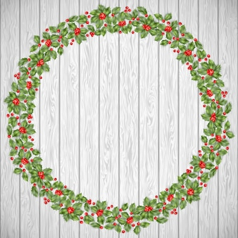 Greeting christmas card. festive decoration on a rustic wooden background. holiday wreath. and also includes