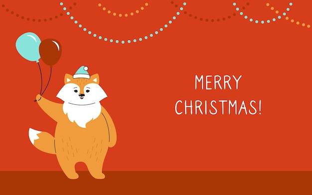 Greeting christmas card, fox with baloons