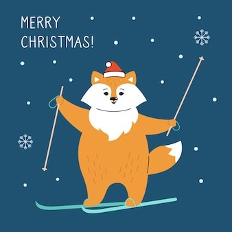 Greeting christmas card, fox with skiing. new year red fox in santa claus hat