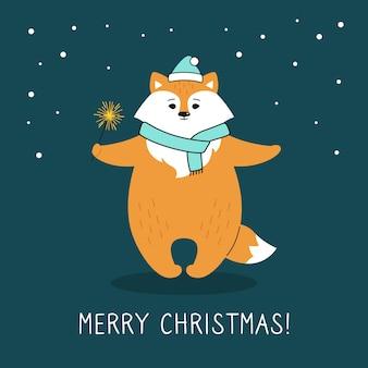 Поздравительная рождественская открытка, лиса с бенгальским огнем. рыжая лиса в шапке деда мороза