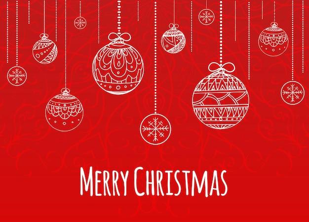 Поздравительная рождественская открытка с шарами, украшенными узором каракули для вашего творчества