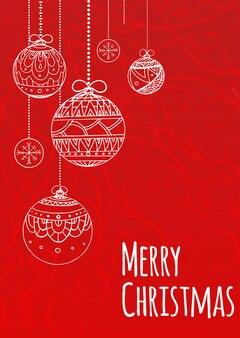 Поздравительная рождественская открытка с шарами, украшенными узором каракули для