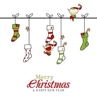 Поздравительная рождественская открытка с милыми рождественскими предметами