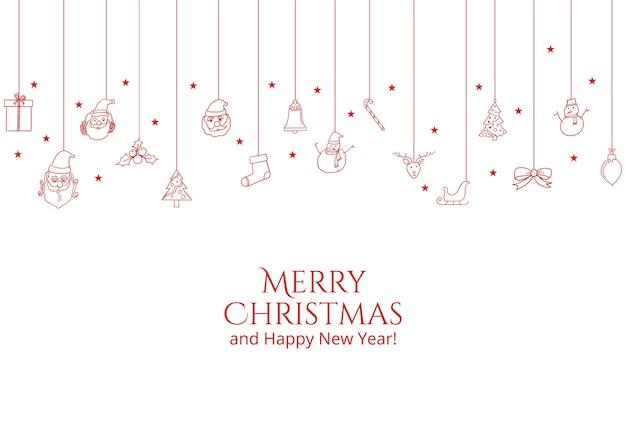 フラットなクリスマスオブジェクトでクリスマスカードを挨拶