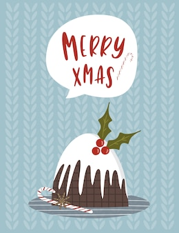 Greeting christmas card with lettering.