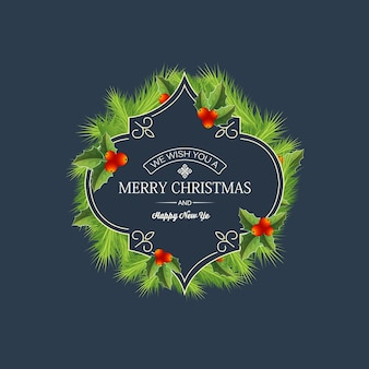 Greeting christmas coniferous wreath template with text in elegant frame natural fir branches holly berries illustration