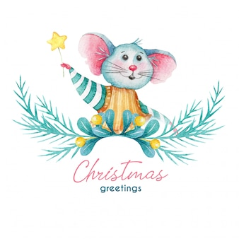 Greeting christmas illustration of mouse and decorations