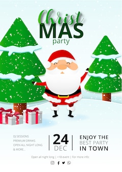 Greeting christmas party flyer template