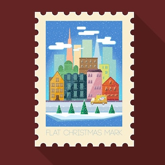 Greeting christmas stamp with winter cityscape and truck in flat style on brown