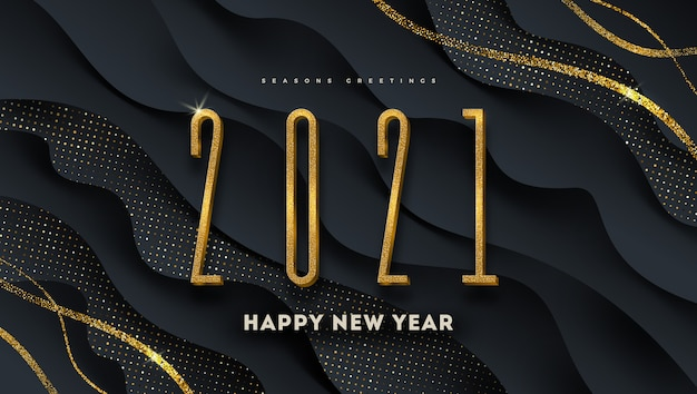 Greeting design with golden year sign