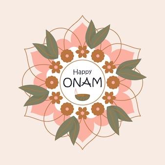 Greeting design with rangoli for happy onam