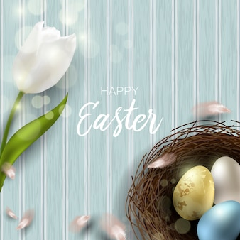 Greeting easter background with realistic easter eggs and chicken feathers. top view with copy space.