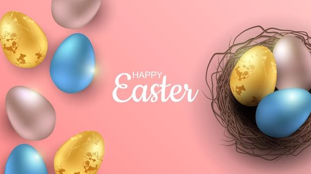 현실적인 부활절 달걀과 부활절 배너 인사말. 평면도