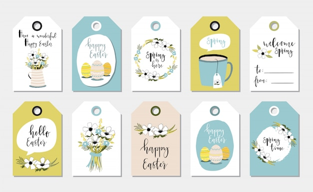 Greeting easter tags.