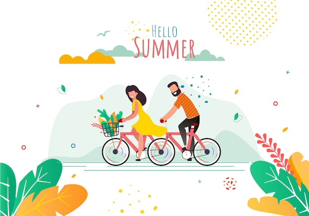 Greeting flat banner with cartoon cyclists. hello summer lettering