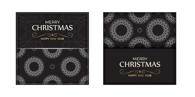 挨拶のチラシ明けましておめでとうとメリークリスマス、白い飾りと黒い色。