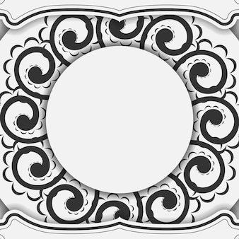 Greeting flyer white with black indian pattern