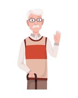 Greeting gesture of old men waving his hand