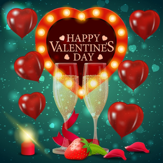Greeting green card for valentine's day