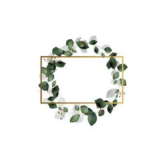 Greeting, greeting card, wedding invitation, template. elegant golden frame with eucalyptus leaves.