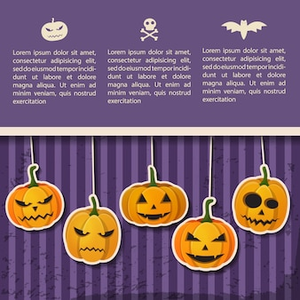 Greeting halloween party poster with text and paper hanging emotional pumpkins