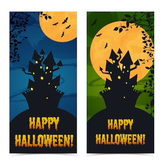 Greeting halloween vertical banners with haunted house cemetery tree branches and bats