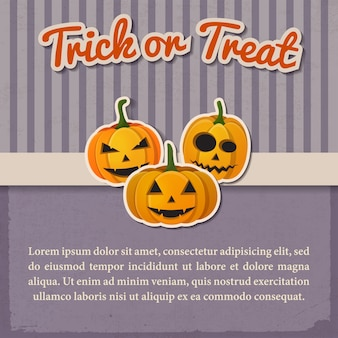 Приветствие хэллоуин старинный шаблон с бумажной надписью и традиционными тыквами с разными эмоциями