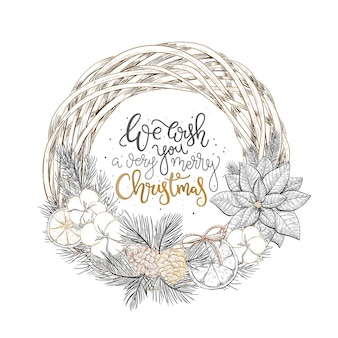 Greeting hand drawn card with christmas wreath and merry christmas wishes christmas wreath