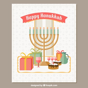 Greeting hanukkah card with candelabra and cakes in flat design