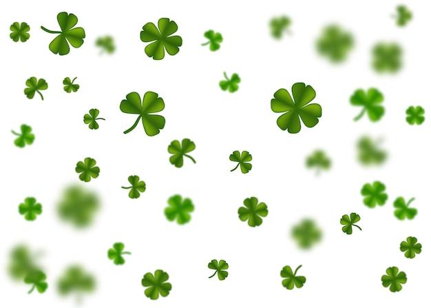행복한 성 패트릭의 날 휴일 인사말 녹색 클로버 임의의 크기 떨어지는 반짝임