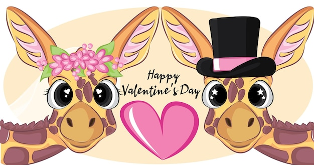 Greeting happy valentine's day  illustration.wedding portrait with cute couple of giraffe.