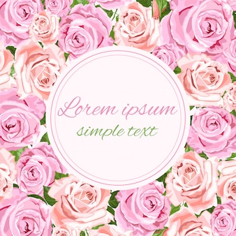 Greeting or invitation card with pink and beige roses